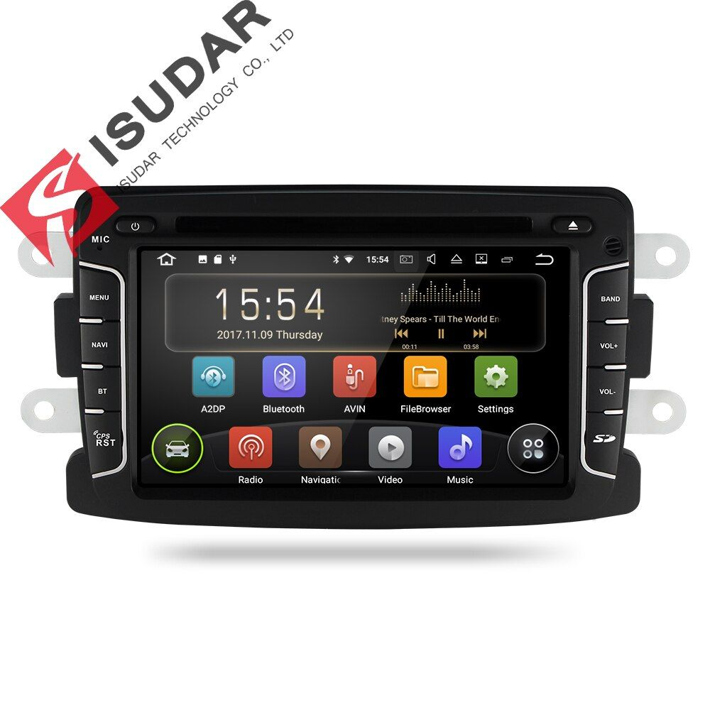 Isudar Car Multimedia Player GPS Android 8.1 Car Radio 1 Din For Dacia/Duster/Renault/Lada/Xray 2 DVD Player FM 2G RAM Quad Core