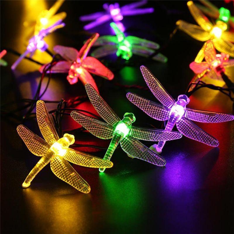 Premium Quality Waterproof lederTEK 6m 30 LED Christmas Solar String Lights 8 Modes Dragonfly Fairy Garden Light For Outdoor