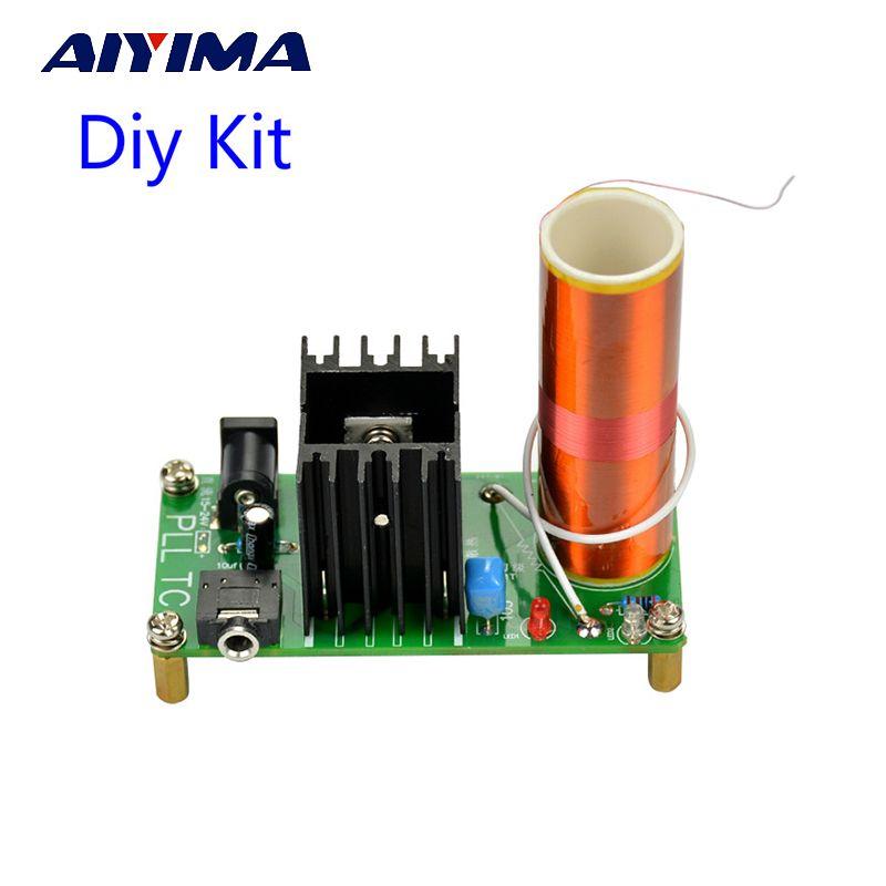 Aiyima Diy Kits 15 W Mini Musique Tesla Bobine Plasma Haut-Parleur Tesla Arc Générateur Sans Fil Transmission DC 15-24 v