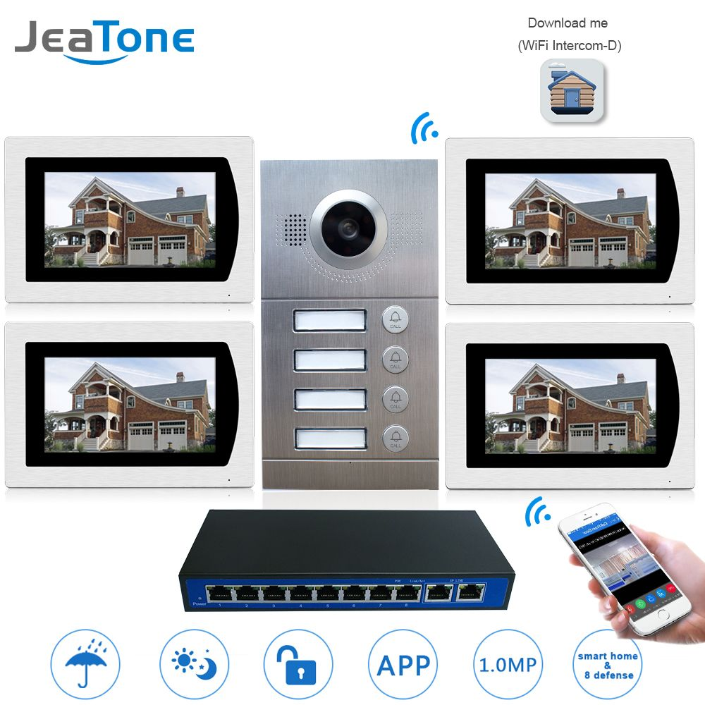 IP Door Phone WIFI Video Intercom System Video Doorbell 7'' Touch Screen for 4 Floors Apartment/8 Zone Alarm Support Smart Phone