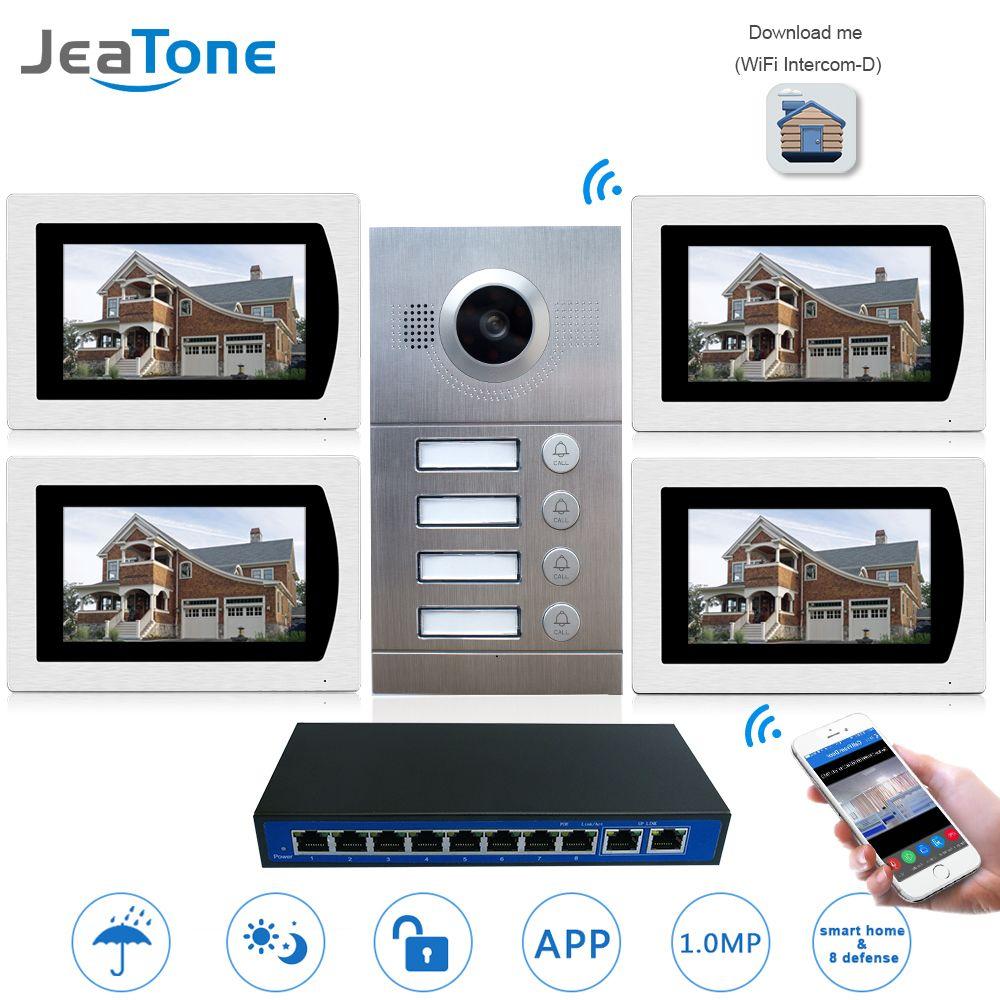 IP Tür Telefon WIFI Video Intercom System Video Türklingel 7 ''Touch Screen für 4 Etagen Wohnung/8 Zone alarm Unterstützung Smart Telefon