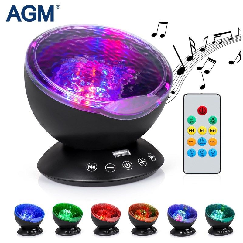 AGM LED Night Light Music Luminaria Starry Sky Aurora Projector Novelty Lights USB Lamp Nightlight Gift For Baby Children Decor