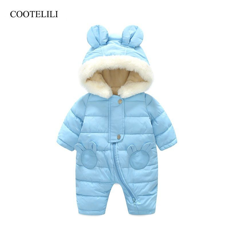 COOTELILI Russian Fleece Velvet Infant Clothing Winter Baby Girls Boys Rompers Warm New Born Baby Clothes Snow Jumpsuit