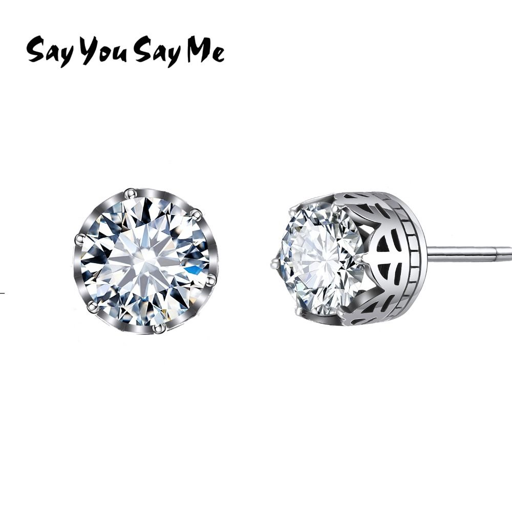 Say You Say Me 925 Sterling Vintage Silver Zircon Earrings Wedding&Engagement Prevent Allergy <font><b>Crown</b></font> Earrings 2018 New Arrival