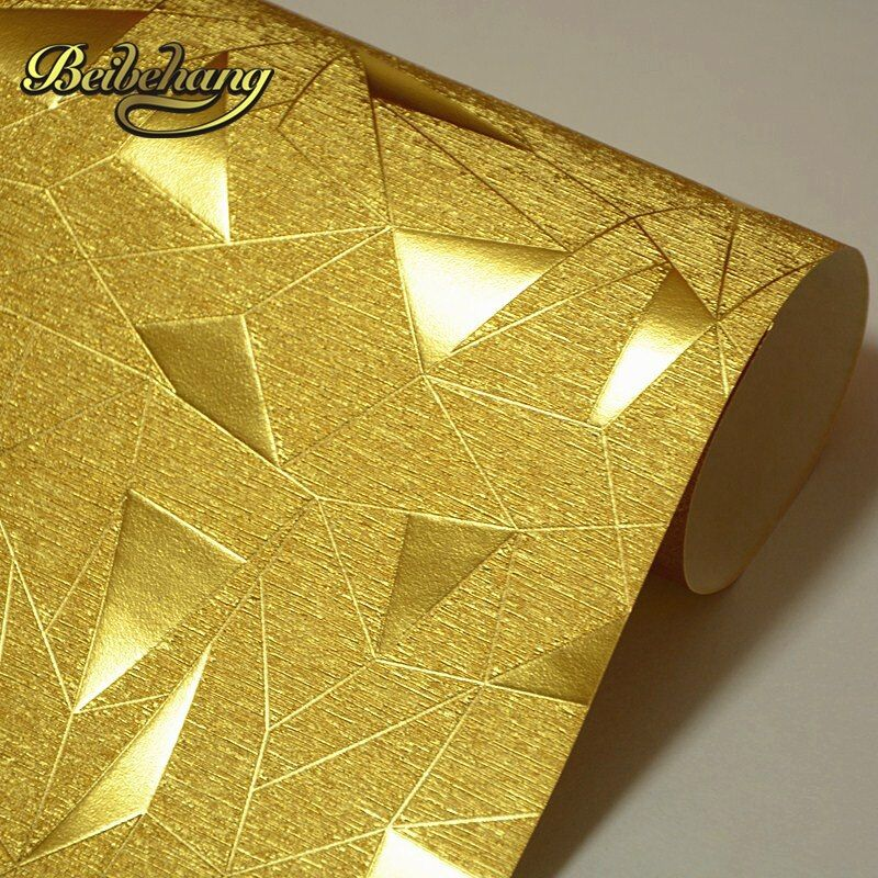 Beibehang Papel де Parede Светоотражающие золото золотой неправильные геометрические фоне обоев с тиснением вогнутость развлечения салон