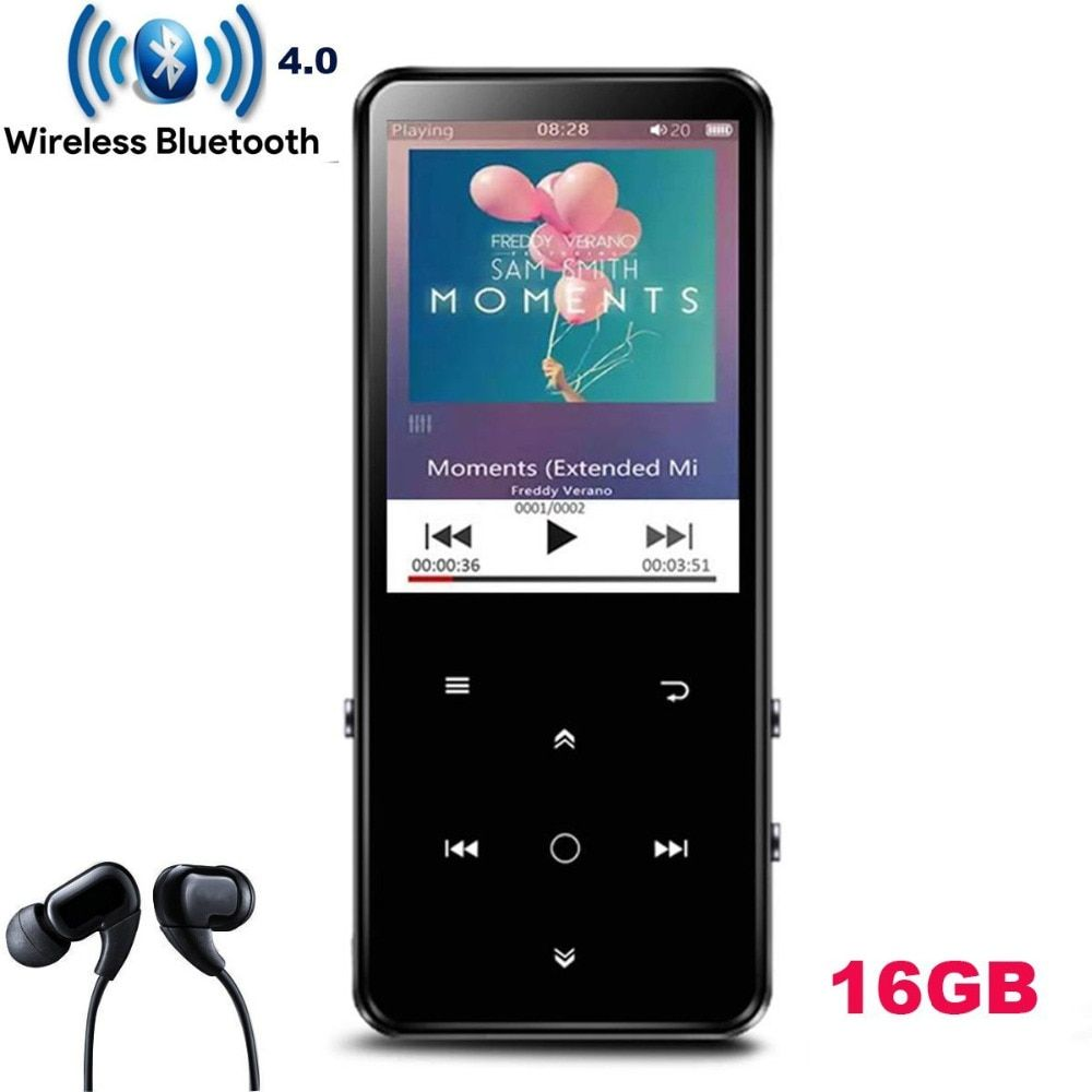 16GB Bluetooth 4.0 MP4 Player with 2.4 Inch TFT Color Screen,Lossless Sound Metal Music Player with Speaker Backlight Touch Key