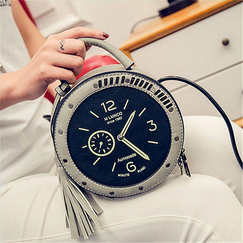 Caractère originalité horloge sacs à bandoulière Messenger sacs sac à main PU cuir mini Crossbody sacs pour femmes 3 couleurs au choix