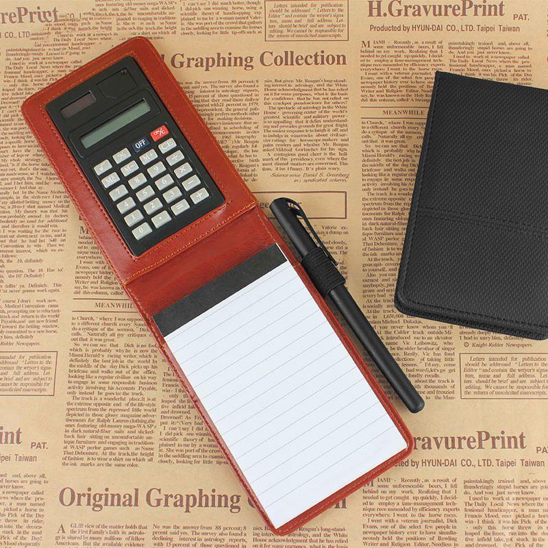 Raj creative poche portable en cuir bloc-notes journal mémos petit A7 planificateur Multifonction mini note livre avec calculatrice
