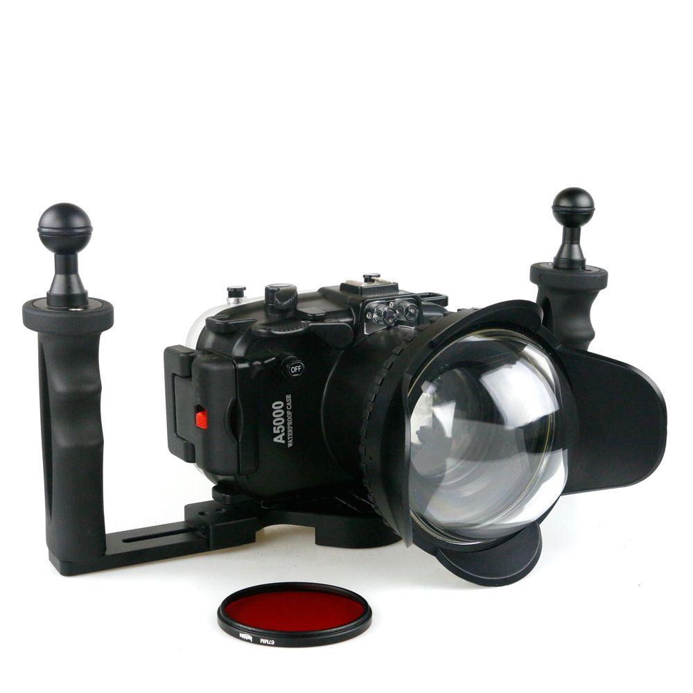Für Sony A5000 Kamera 16-50mm Wasserdichte Gehäuse Fall Scuba Dive Unterwasser 40 mt Fotografie Gerät + Filter fisheye Stabilisator