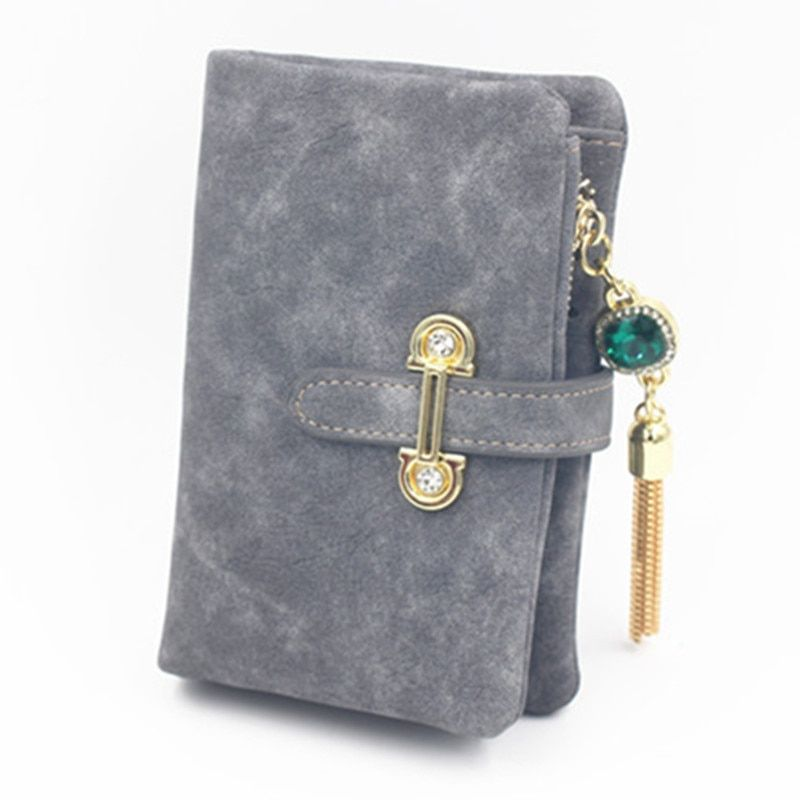 Women Wallets Leather Scrub Short Fringe Tassel 2017 Female Clutch Card Holder Coin Clutch Photo High Quality Purse Cash Pocket