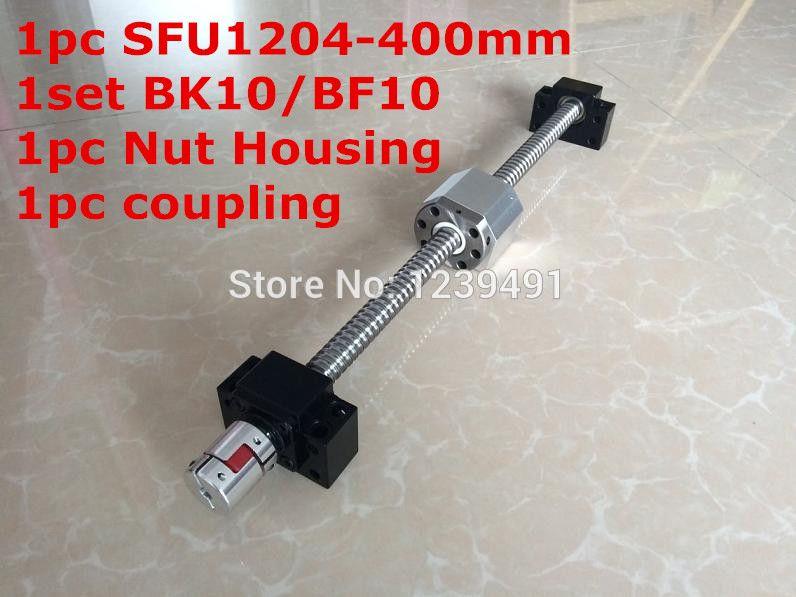 SFU1204-  400mm Ballscrew + SFU1204 Ballnut + BK10BF10 Support + 1204 Ballnut Housing + 6.35*8mm Coupling cnc parts
