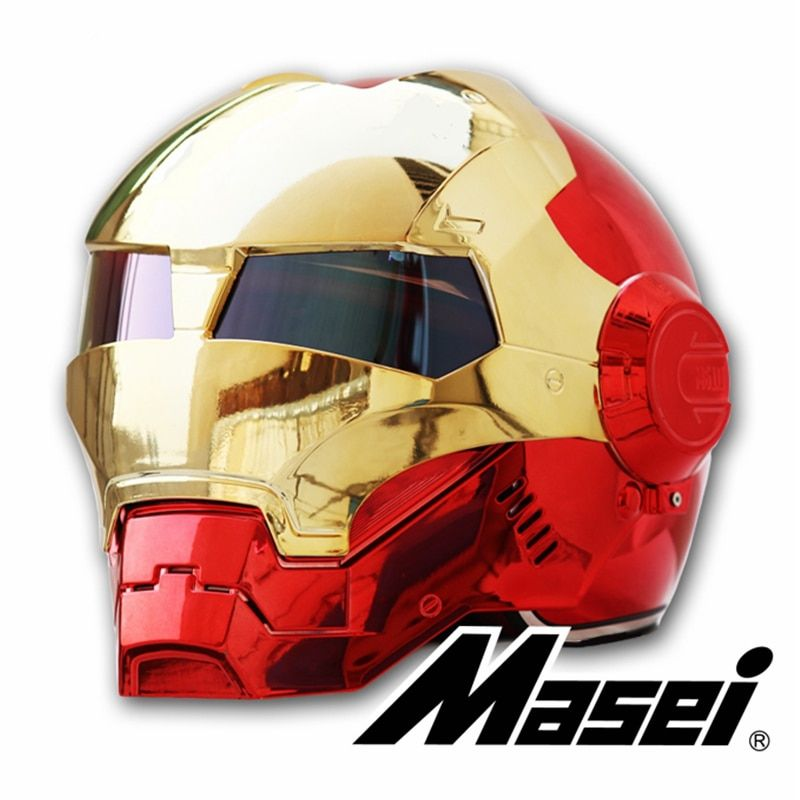 MASEI 610 plating Chrome electroplate Gold Red IRONMAN Iron Man helmet motorcycle helmet half open face helmet ABS motocross