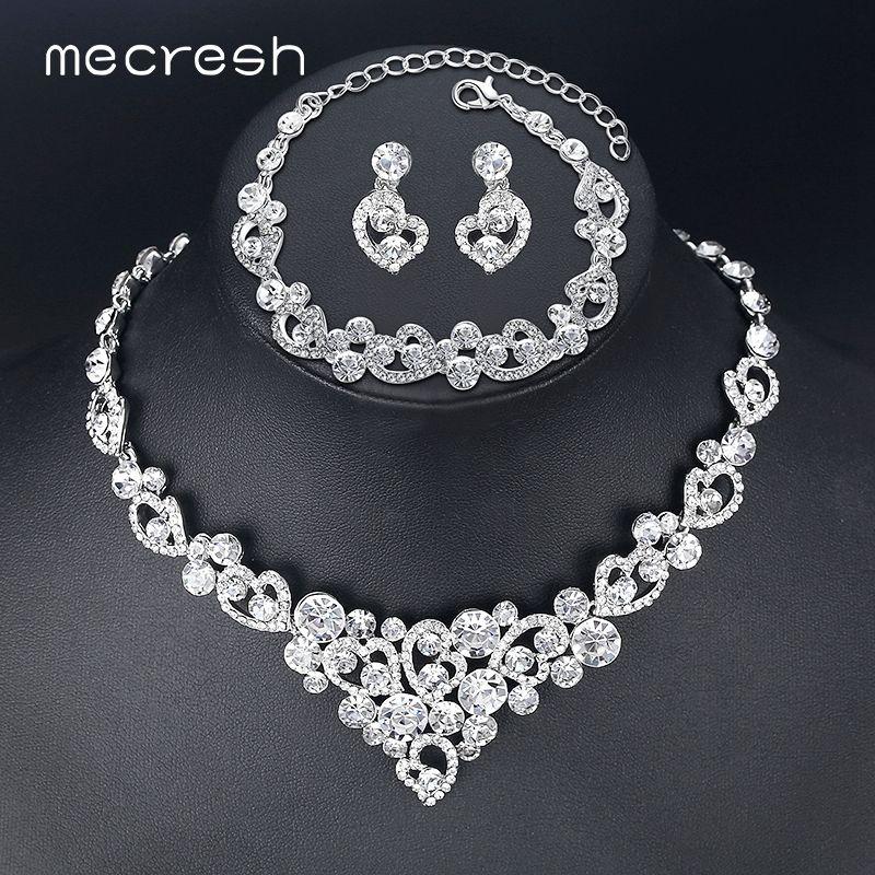 Mecresh ensembles de bijoux de mariée en cristal en forme de coeur collier de mariage boucles d'oreilles perles africaines ensembles de bijoux accessoires TL310 + SL285