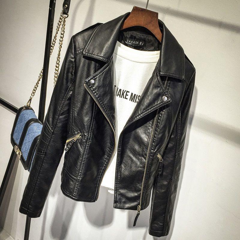 OLGITUM 2018 automne femmes noir mince Cool dame vestes en cuir synthétique polyuréthane doux Femme fermeture éclair Faux Femme vêtements d'extérieur manteau grande taille JK254