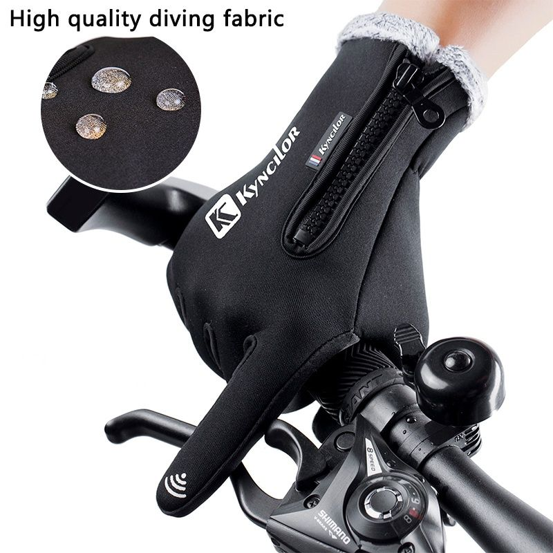 Wasserdicht Fleece Männer Frauen Radfahren Goloves Wind-proof Thermische Touchscreen Outdoor Sport Radfahren Fahrrad Snowboard Handschuhe