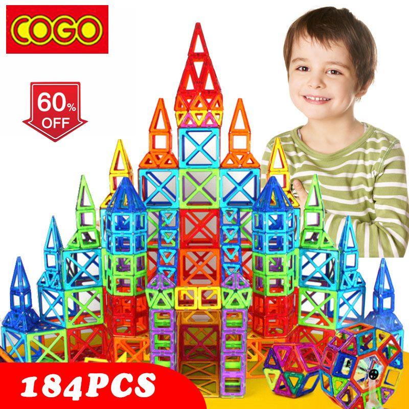 110-184 pcs Mini Magnétique Design Jeu De Construction En Plastique Constructeur Magnétique Jouet Éducatif Jouets Pour Enfants Cadeau De Noël
