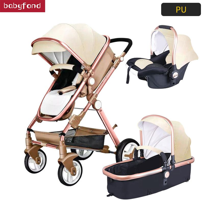 USA free ship! 3 in 1 baby strollers and sleeping basket newborn baby carriage Europe baby pram gold frame with car seat