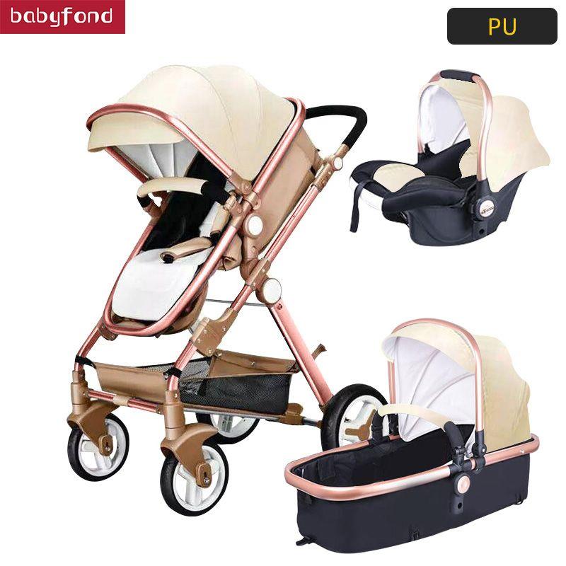 USA freies schiff! 3 in 1 kinderwagen und schlaf korb neugeborenen baby wagen Europa baby pram gold rahmen mit auto sitz