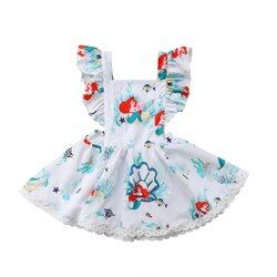 Toddler Baby Kids Girls Mermaid Backless Summer Party Cartoon Dress Sundress