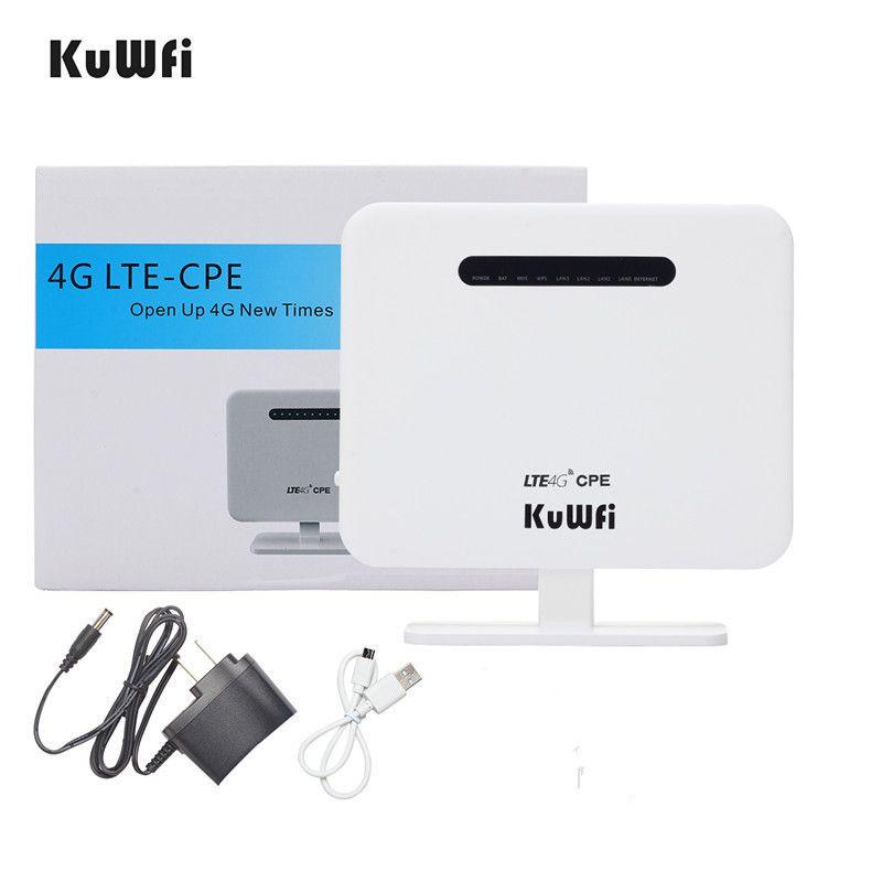KuWFi 300 Mbps Entriegelte 4G LTE CPE Router Auto Wireless Router Roteador Wifi 4G Modem Modus AP Router Mit Sim Einbauschlitz Lan Port