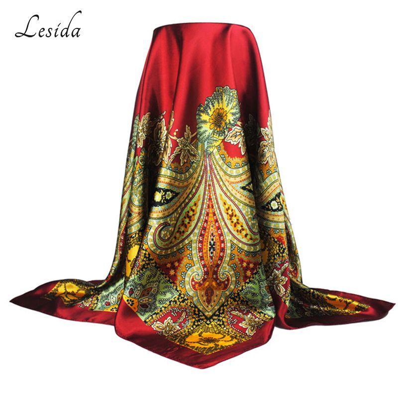 LESIDA Polyester Carré Écharpe Femmes Paisley Imprimé Bandana Wrap Rouge Vintage Cou Foulards Châles Hijab Sjaal 90*90 CM 9016