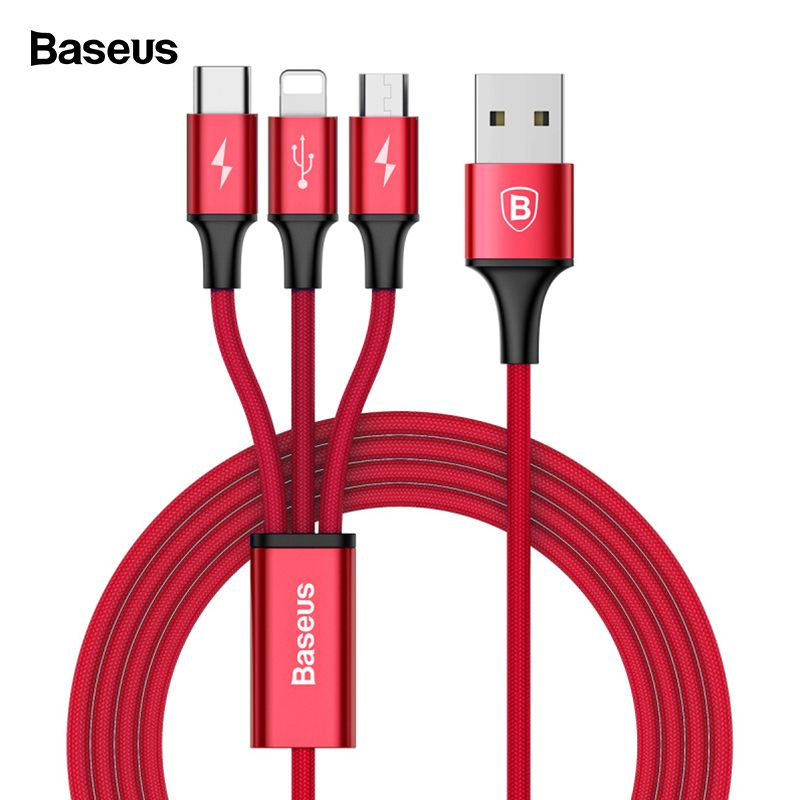 Baseus USB Cable For iPhone XS Max XR X 8 7 6 5 Charging Charger 3 in 1 Micro USB Cable For Mobile Phone USB Type c Type-c Cable