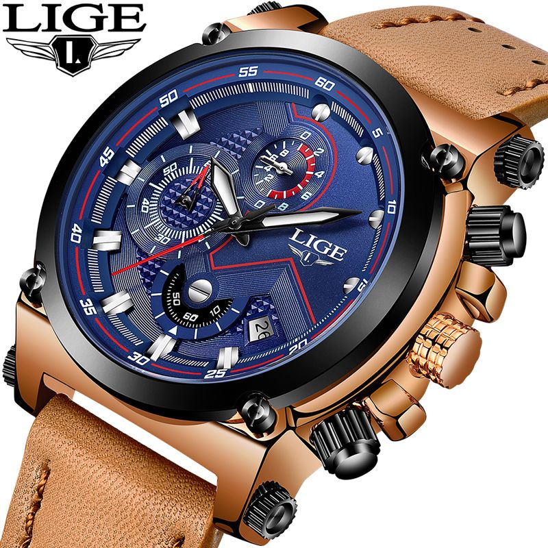 LIGE Sport Chronograph Mens Watches Top Brand Luxury Casual Leather Quartz Watch Men Military Waterproof Clock Relogio Masculino