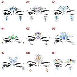 1 hoja elegido a dedo Bohemia estilo Tribal 3D etiqueta engomada cristalina cara y ojos joyas frente decoración etapa tatuaje temporal etiqueta