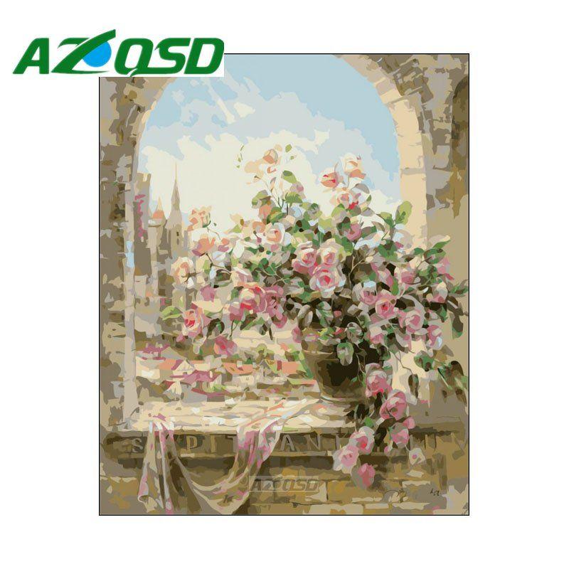 AZQSD Peinture Par Numéros Fleurs Fenêtre DIY Sans Cadre 40x50 cm Peinture À L'huile Numérique Par numéros Sur Toile Home décor szyh020