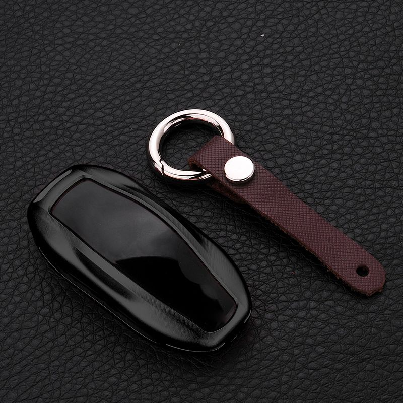 TOYIKIE  Aluminum Alloy & Leather Car Key Case Cover Remote Control For Tesla Model S Smart Key Chain Car Accessories