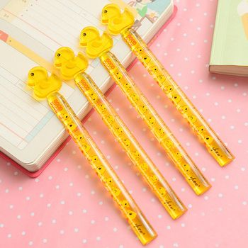1 PCS student drawing cute cartoon duck rhubarb 12 cm plastic ruler student stationery office supplies