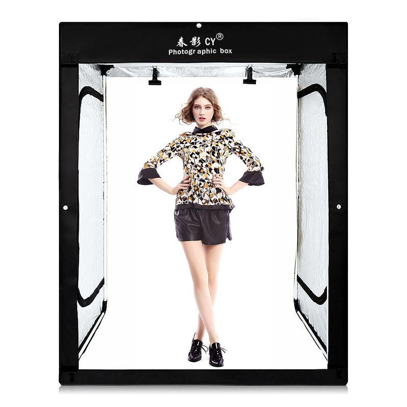 CY 8* LED strips +200x120x100CM Photo Studio Softbox Shooting Light Tent Soft Box for model body portrait apparel photo shooting