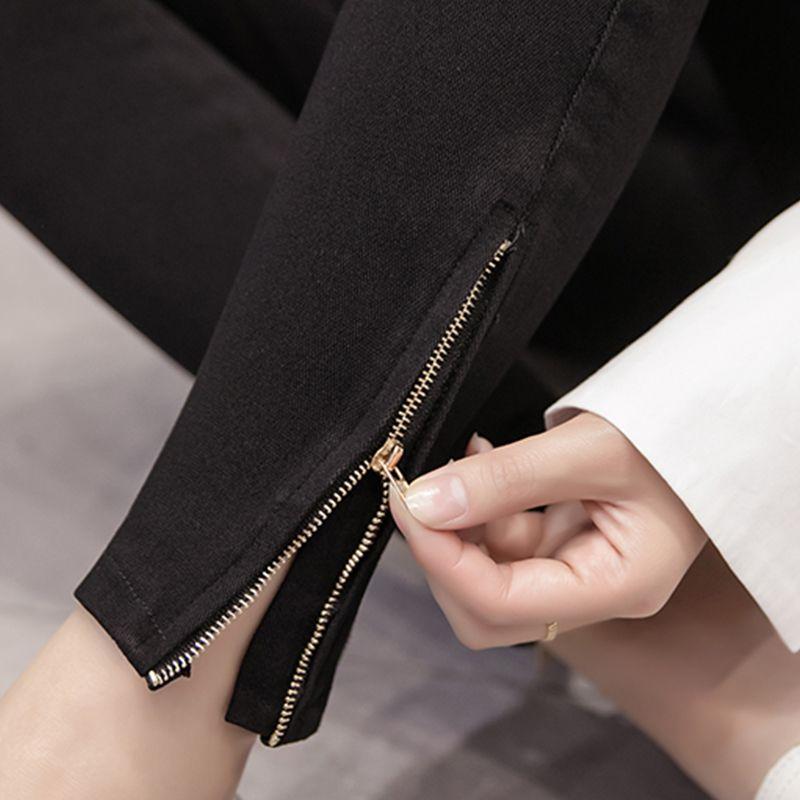Fett MM200 Arten von Bottom Hosen in Frühjahr 2019 Tragen Kurze beinen Hosen Schwarze Jeans mit Hoher Taille und Dünne Mädchen Hosen