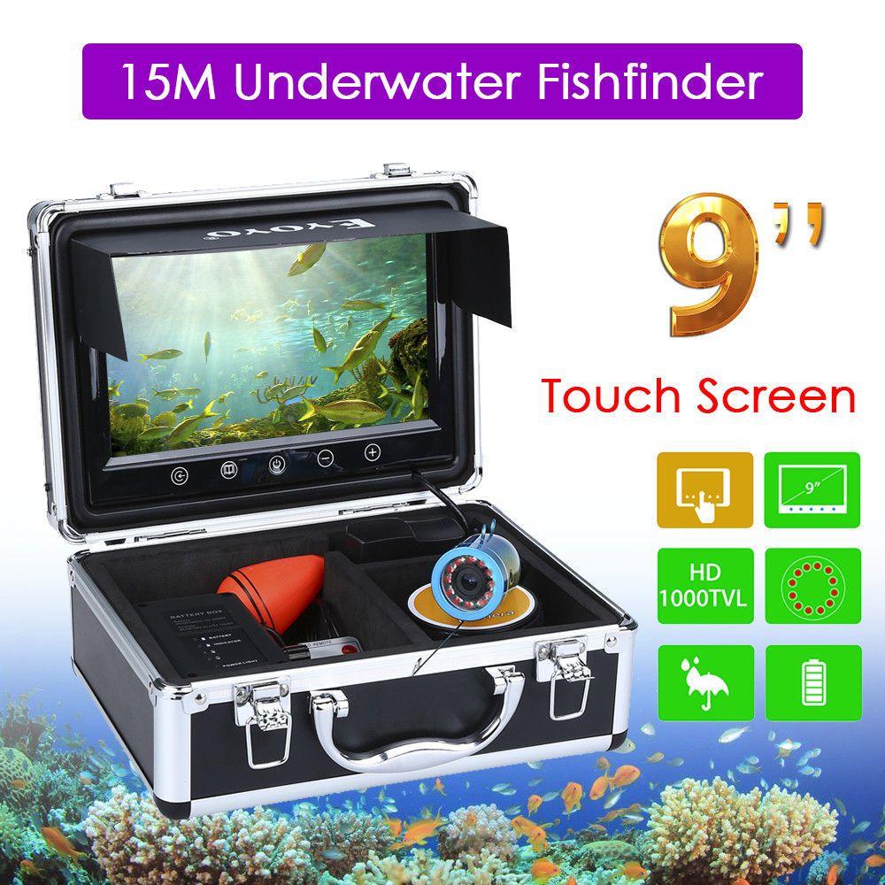 EYOYO 9 Touchscreen Angeln Finder 15 mt Infrarot Licht Regulierbare Unterwasserkamera Für Meer Boot Eisfischen FishFinder