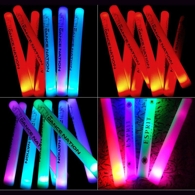 100/150pcs Led light Stick With Customized Logo Cheering Glow Stick LED Light Up Foam Stick For Wedding Birthday Party Supplies