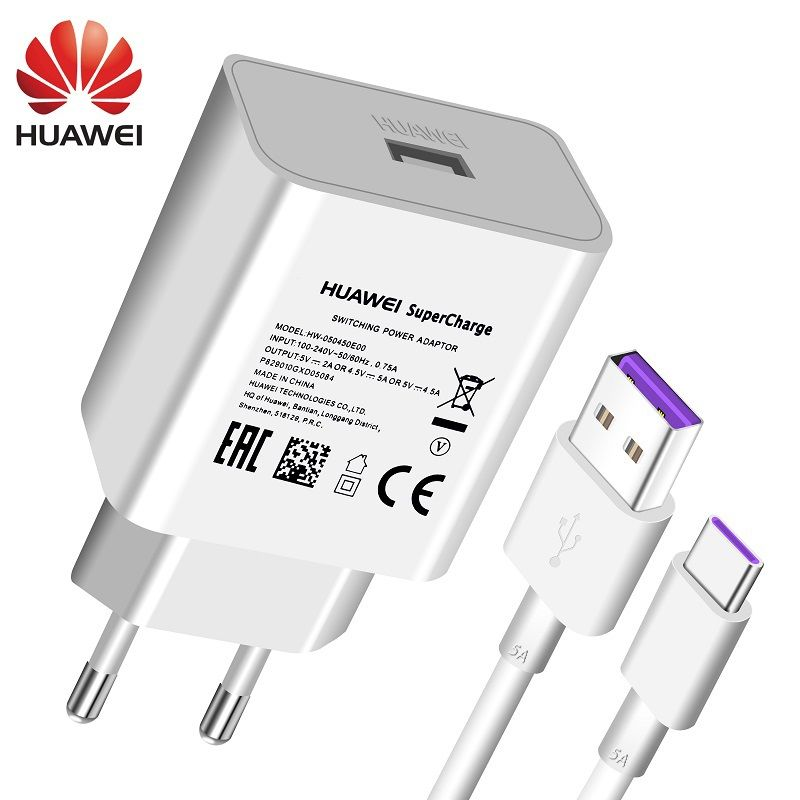Huawei P20 Pro Lite Charger USB Wall Travel 22.5W Fast 100% Original 5V4.5A 5A USB Type C Cable P10 P9 Plus Mate10 Mate9