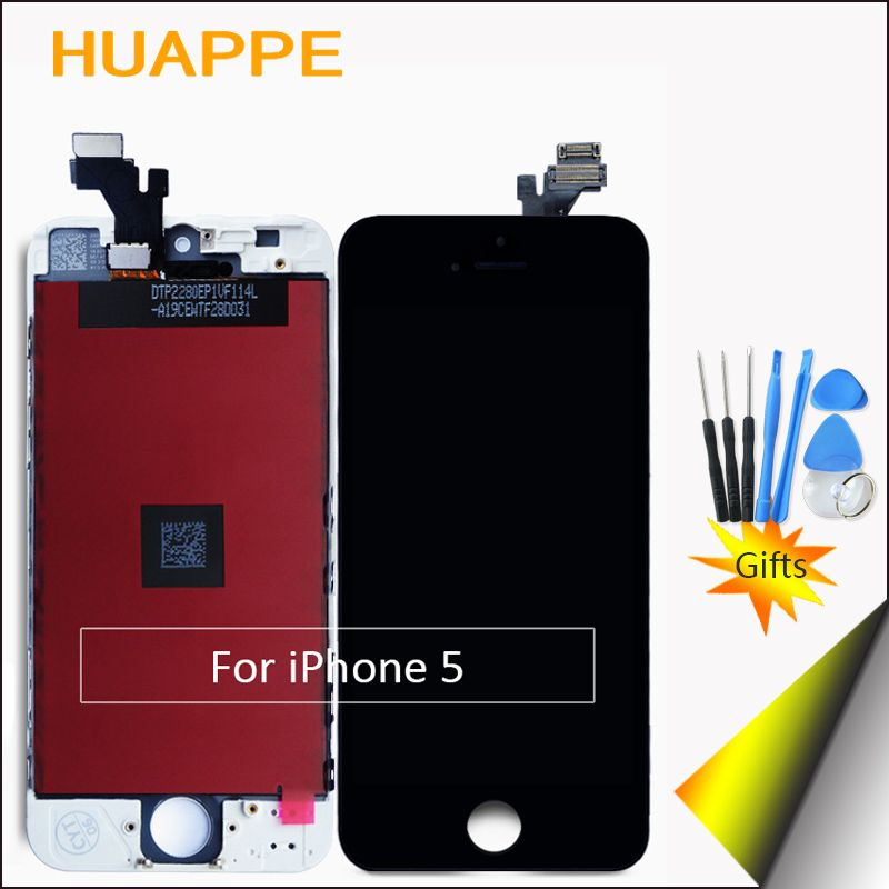HUAPPE 1 PCS AAA Excellente Qualité Affichage LCD Écran Pour Apple iPhone 5 LCD Tactile Écran de Remplacement 4.0 pouces Blanc Noir cadeau
