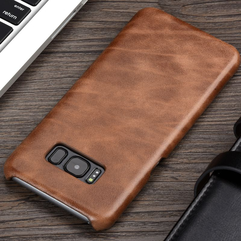 KEYSION Luxury Retro Cowhide Case For Samsung S8 S8 Plus Genuine Cow Leather Phone cover for Samsung S8 S8Plus G950 G955 Case