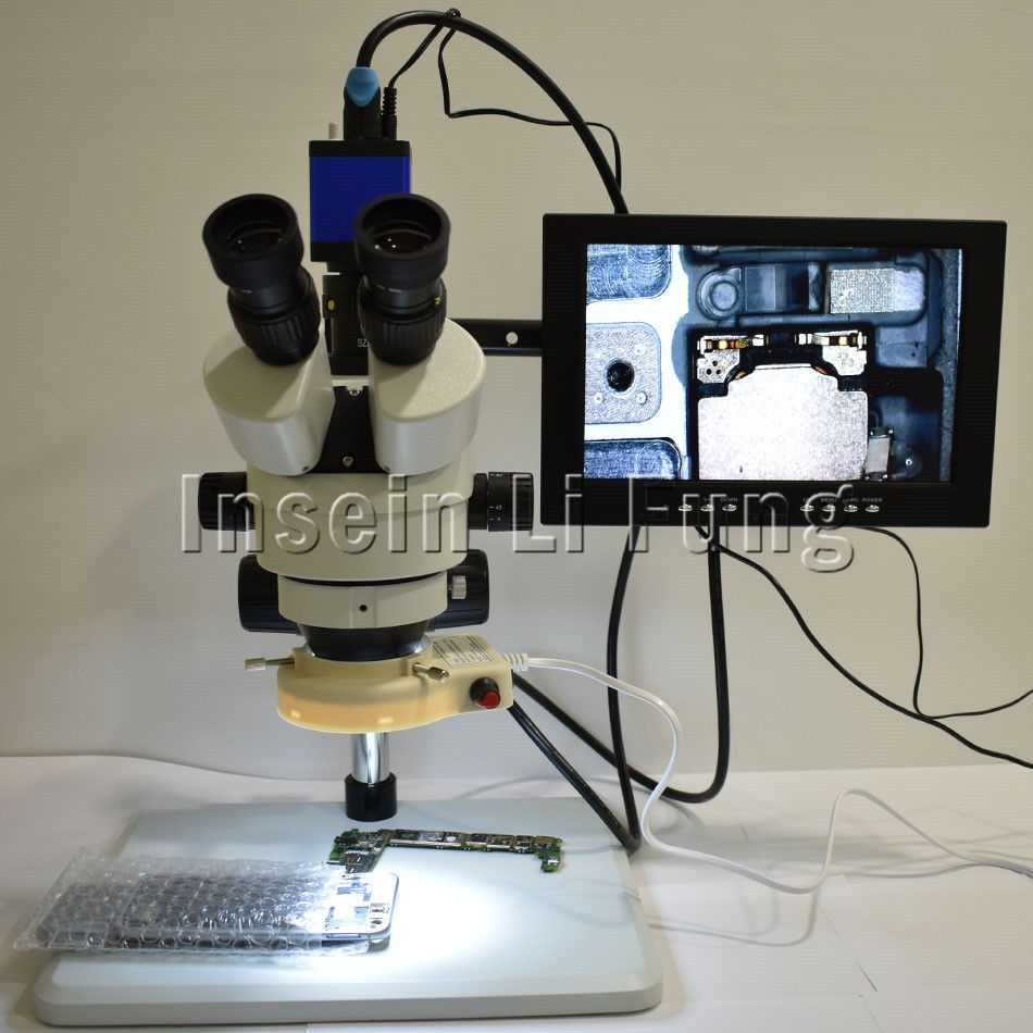 Full HD 1/3 Inch 2.0MP 1080P HDMI Industrial Large Size Base Trinocular Microscope 3.5X-90X Continuous Zoom Phone Repair
