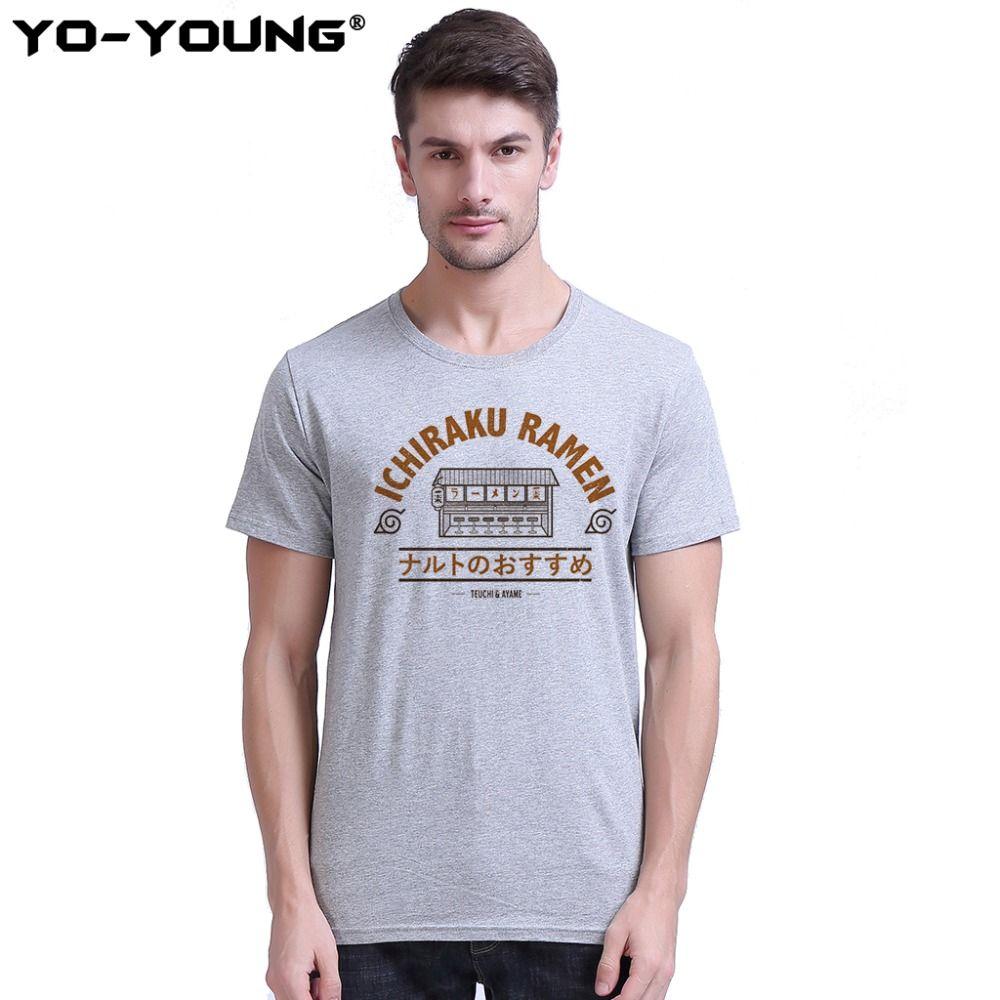 Anime Naruto Ichiraku Ramen t-shirts hommes impression numérique 100% 180 gsm peigné T-Shirt décontracté en coton chemise Homme personnalisé
