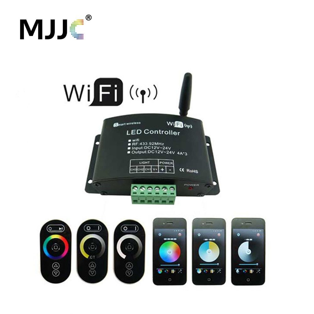Touch Wifi RGB LED Controller 12V 24V 12A App Android RF Wireless Wifi Dimmer Controller for RGB CT Single Color LED Strip Light