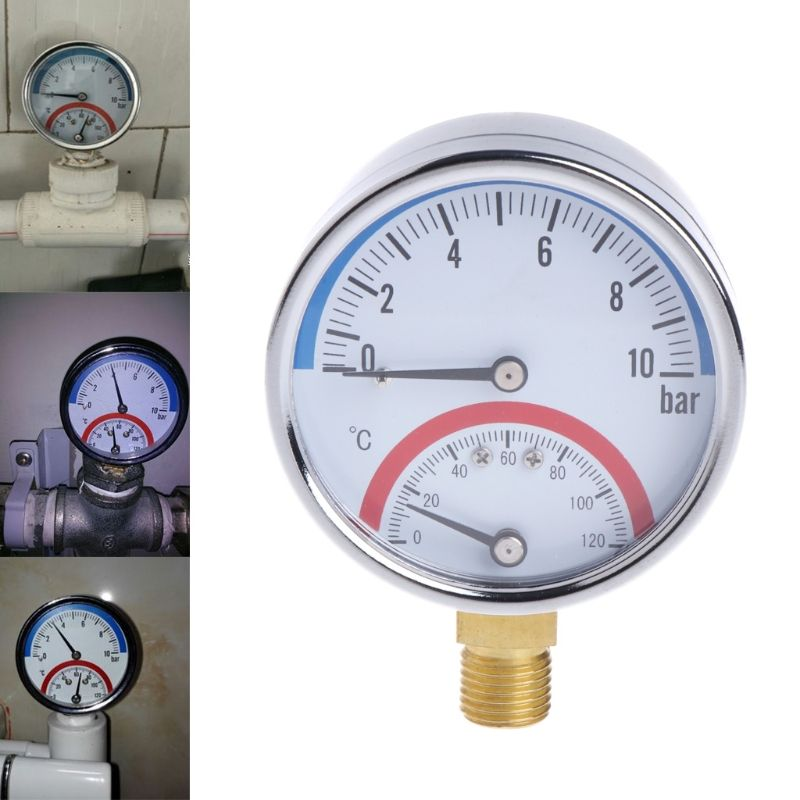10 Bar Temperature Pressure Gauge Meter G1/4 Thread 2 in1 Thermometer Monitor %328&313