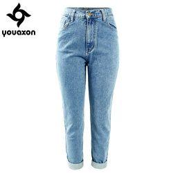 1886 Youaxon Femmes de Plus La Taille Taille Haute Lavé Bleu Clair Vrai Denim Pantalon Boyfriend Jean Femme Pour Femmes Jeans