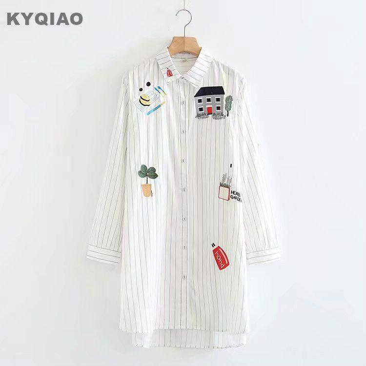 KYQIAO Cartoon shirt 2018 mori girls spring autumn Japan style three quarter sleeve striped cartoon house blouse blusa
