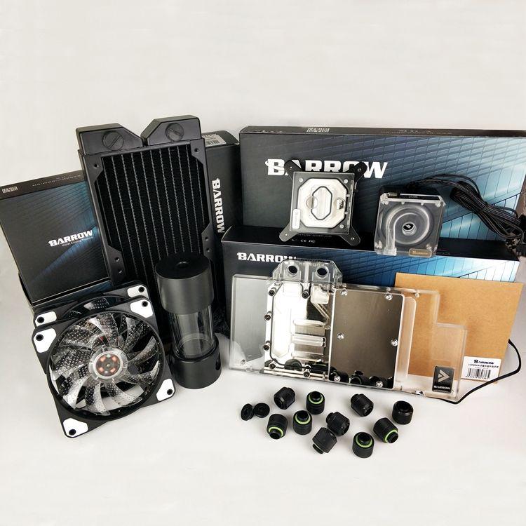 Barrow Water Cooling Kits Hose + Radiator + CPU Block + GPU Block + Pump + Reservoir use for AM3 AM4 + Intel 115X 2011 Soft Kit