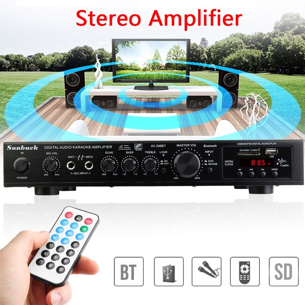 220V 300W+300W+120W 5CH Bluetooth Stereo AV Surround Amplifier Karaoke Cinema PA High Power Digital Audio Amplifier