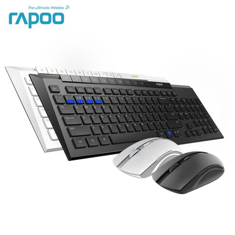 Neue Rapoo 8200 mt Multi-modus Stille Drahtlose Tastatur Maus Combos Bluetooth 3,0/4,0 RF 2,4g schalter zwischen 3 Geräte Verbindung