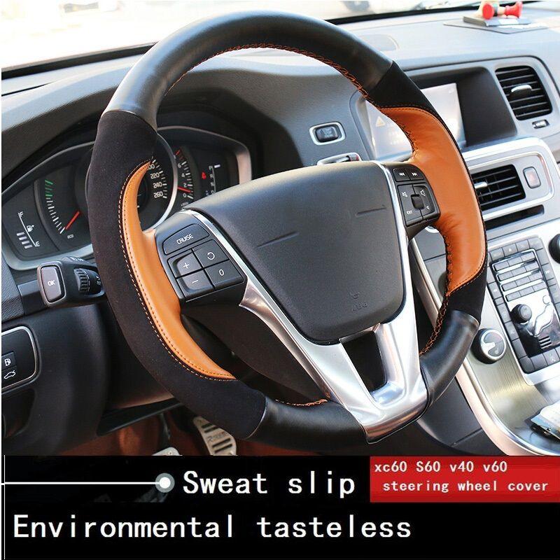 Автомобиль кожаный чехол на руль для Volvo XC60 V40 V60 S60 шить Очаровательный цвет Замша автомобиль аксессуары для интерьера