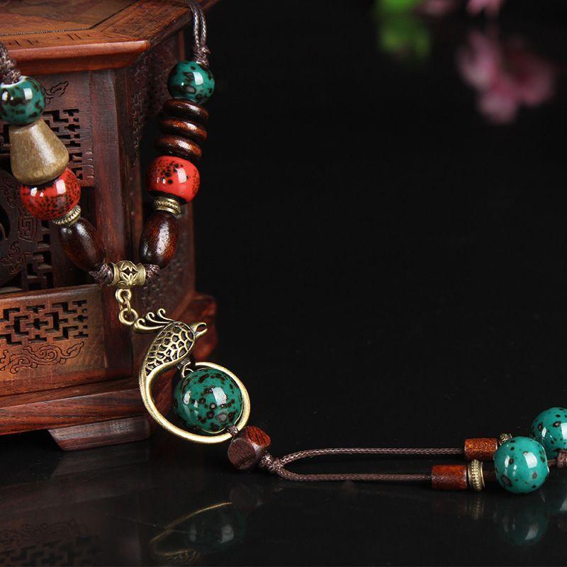Classique cuivre phoenix pendentif collier pour femme en céramique goutte longue corde chaîne ethnique vintage bijoux mode nouveauté 2018
