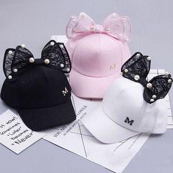 Children Baseball Cap Spring Summer Baby Rabbit Ear Pearl Big Bow Kids Sun Hat Girls Snapback Hip Hop Caps